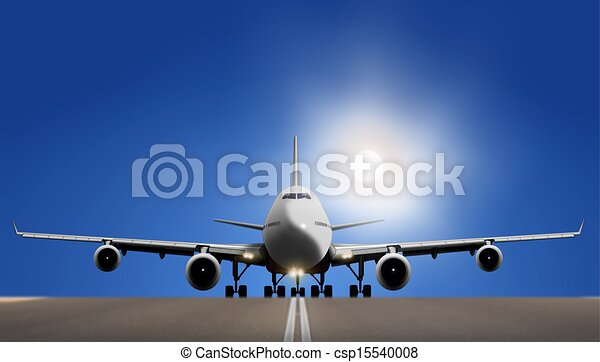 Airplane on Runaway over Blue Sky - csp15540008