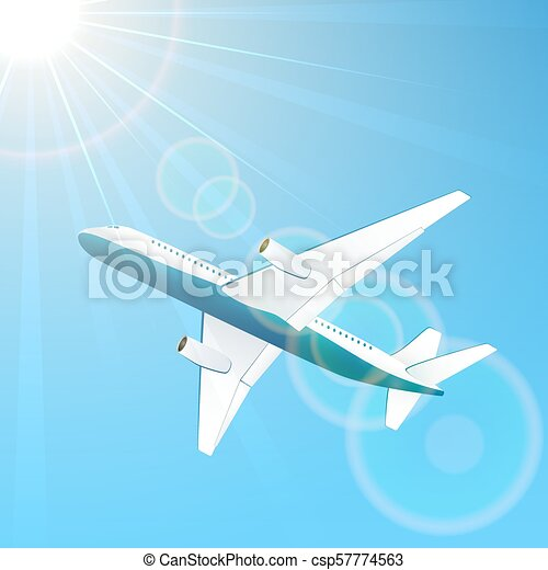 Airplane on sky background - csp57774563