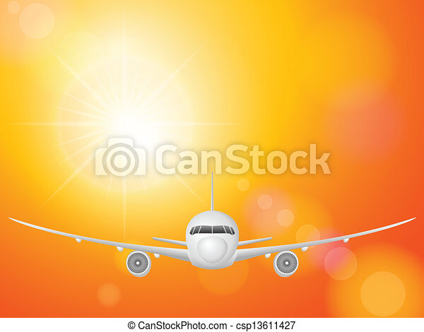 airplane on sky  - csp13611427