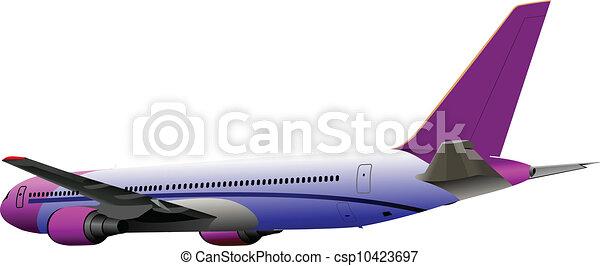Airplane on the air. Vector illust - csp10423697