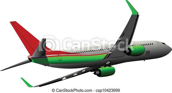 Airplane on the air. Vector illust - csp10423699