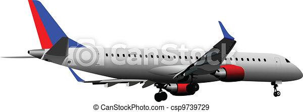 Airplane on the air. Vector illust - csp9739729