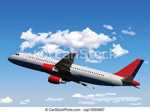Airplane on the air. Vector illustr - csp13064667