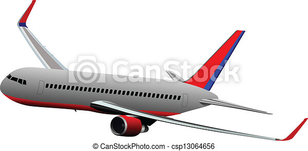 Airplane on the air. Vector illustr - csp13064656