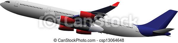 Airplane on the air. Vector illustr - csp13064648