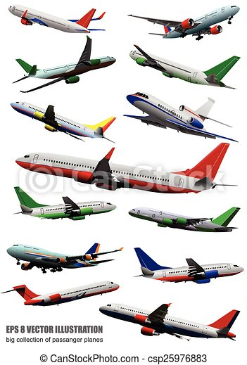 Airplane on the air. Vector illustr - csp25976883