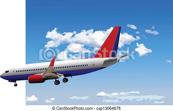 Airplane on the air. Vector illustr - csp13064678