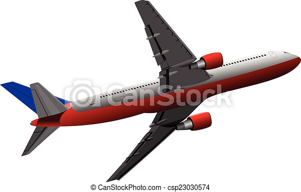 Airplane on the air. Vector illustr - csp23030574