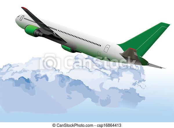 Airplane on the air. Vector illustr - csp16864413