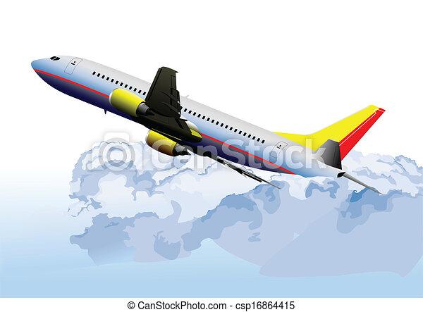 Airplane on the air. Vector illustr - csp16864415