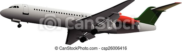 Airplane on the air. Vector illustr - csp26006416
