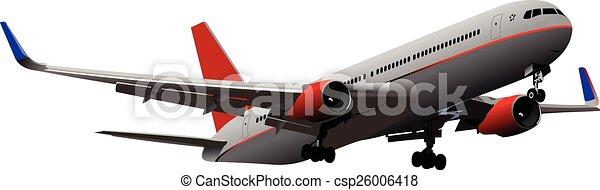 Airplane on the air. Vector illustr - csp26006418