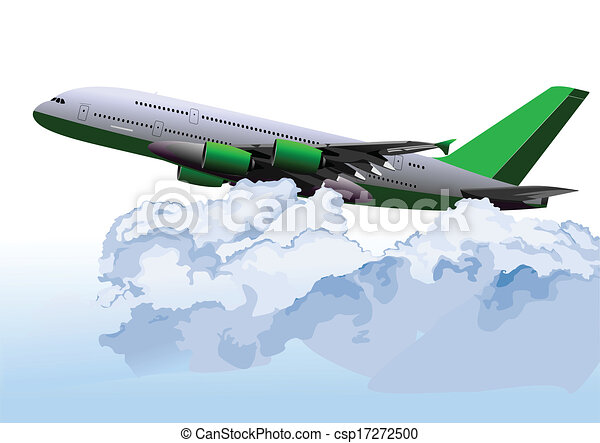 Airplane on the air. Vector illustr - csp17272500
