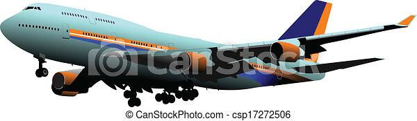 Airplane on the air. Vector illustr - csp17272506