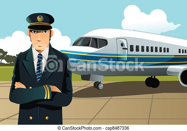 453c8e3128 A vector illustration of an airplane pilot in front of the plane at the  airport