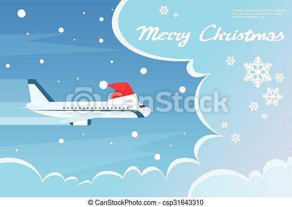 airplane santa red christmas hat cloud blue sky banner flat vector