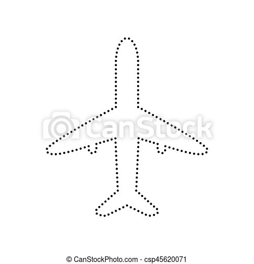 Airplane sign illustration. Vector. Black dotted icon on white background. Isolated. - csp45620071