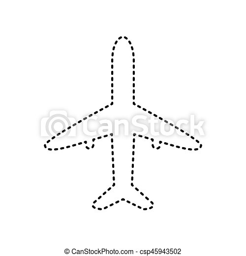 Airplane sign illustration. Vector. Black dashed icon on white background. Isolated. - csp45943502