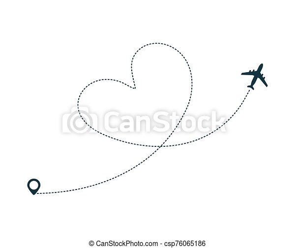Airplane Silhouette Icon With Dotted Line Path Airplane Silhouette Icon With Dotted Line Path As Heart Plane Flight With Canstock
