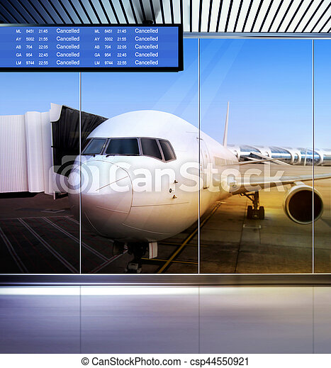 airplane stays at airport - csp44550921