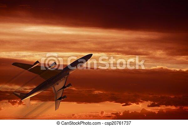 Airplane Sunset Takeoff - csp20761737