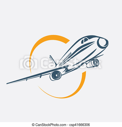 airplane symbol, aircraft stylized vector icon - csp41666306
