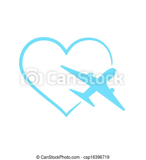 Airplane symbol in shape heart isolated on white background - csp16396719