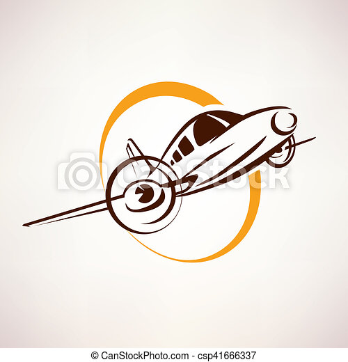 airplane symbol, light aircraft stylized vector icon - csp41666337