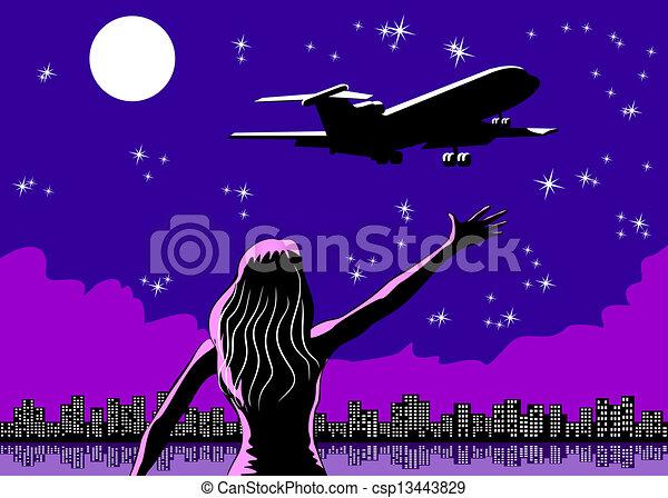 Airplane taking off and woman sayin - csp13443829