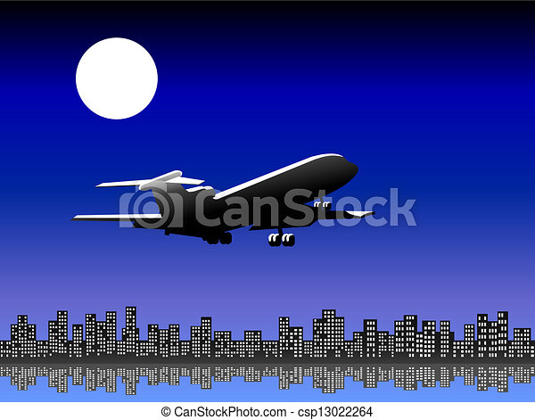 Airplane taking off at night - csp13022264