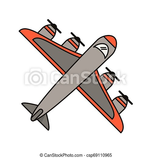 Airplane topview symbol isolated - csp69110965
