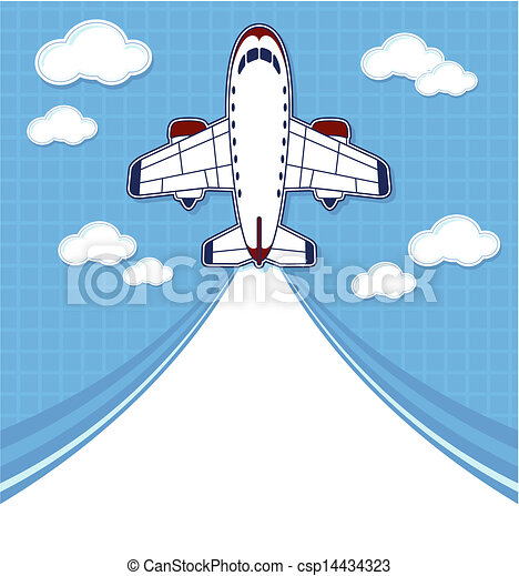 Airplane Travel Background Funny Commercial Cartoon With