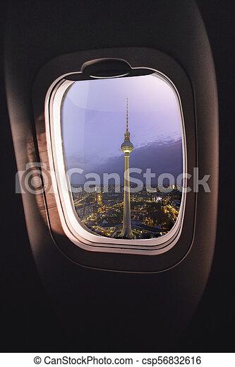 Airplane window Berlin - csp56832616