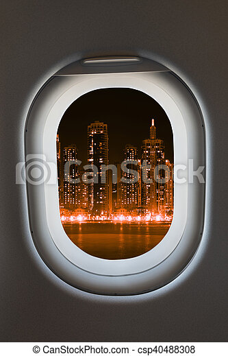 Airplane window from interior of aircraft. - csp40488308