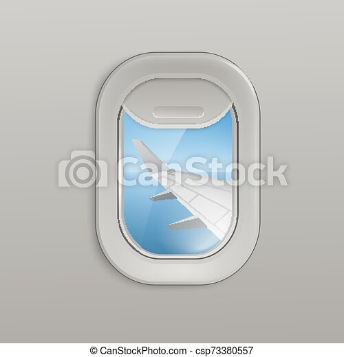 Airplane Window Or Illuminator With View On Plane Wing 3d Vector Illustration Airplane Window Or Aircrafts Porthole Canstock