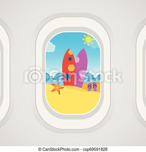 Airplane Window View Surfboard Sand Flip Flops Starfish Sea