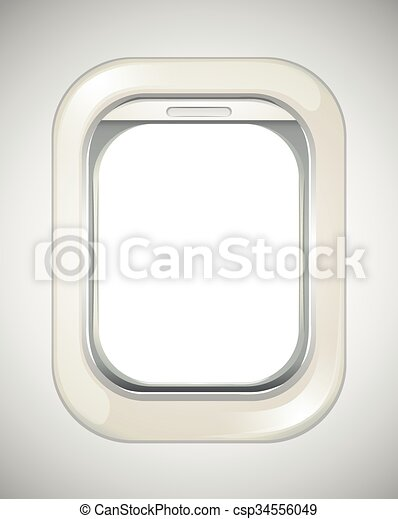 Airplane Window With No View Illustration Canstock