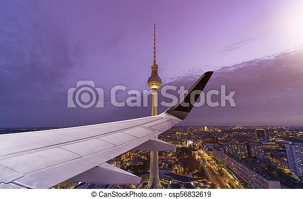 Airplane Wing Berlin Skyline - csp56832619