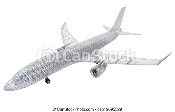 Airplane wire model , isolated - csp19695529