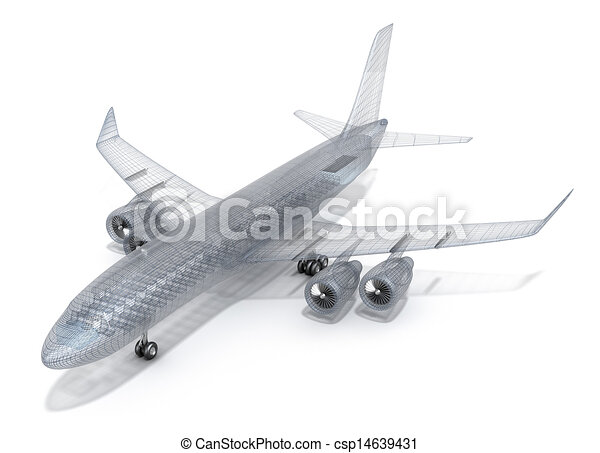 Airplane wire model , isolated  - csp14639431