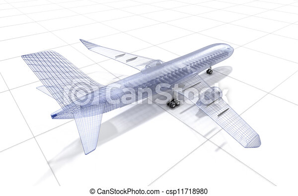 Airplane wire model , isolated  - csp11718980