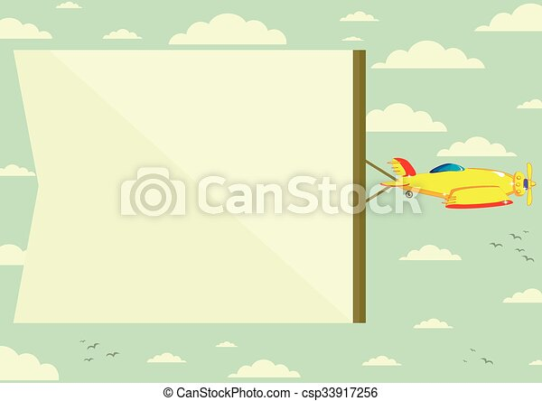 Airplane with banner, vector illustration  - csp33917256