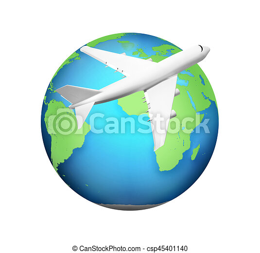 airplane with green blue planet earth 3d render elements of rh canstockphoto com