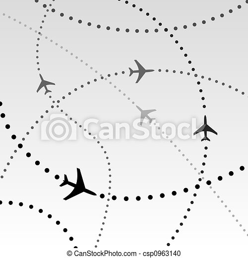 Airplanes Airlines Flight Paths in Sky - csp0963140