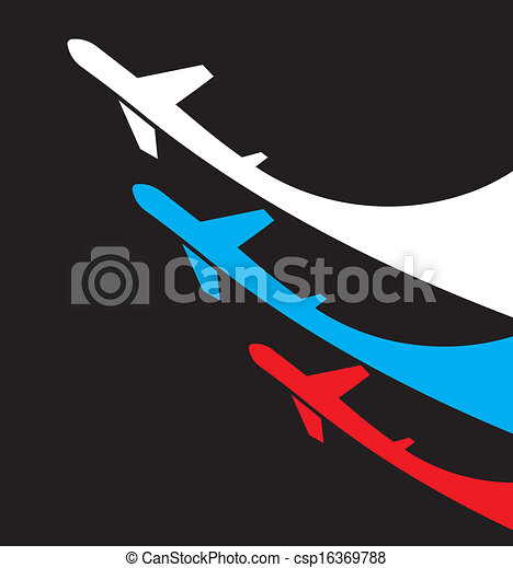 Airplanes background with Russia fl - csp16369788