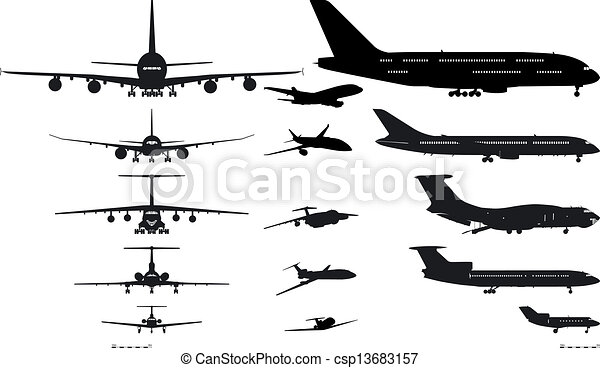 airplanes silhouettes set - csp13683157