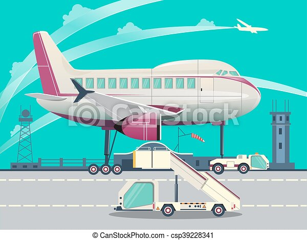 Airport and airplane flat vector illustration - csp39228341