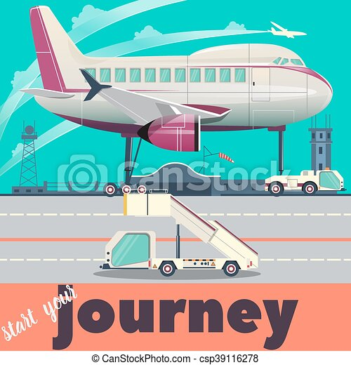 Airport and airplane flat vector illustration - csp39116278