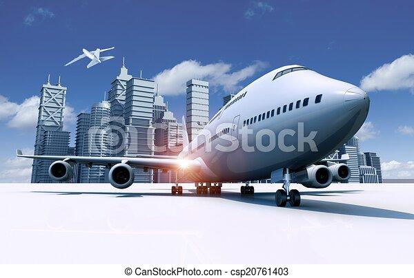 Airport and City Skyline - csp20761403