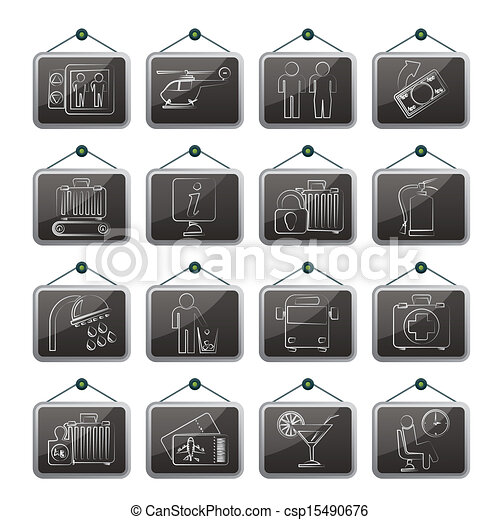 Airport and transportation icons - csp15490676